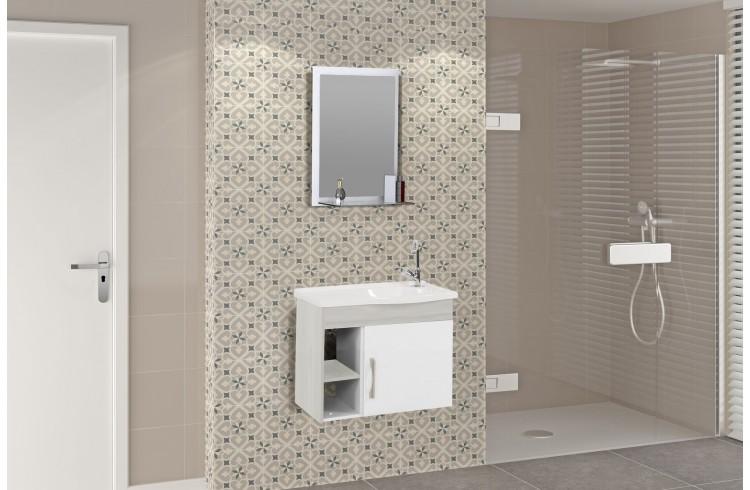 Kit Suspenso para Banheiro Rorato Turim 55,5cm com Pia, Espelho e 2 Nichos Branco