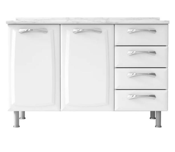 Balcão Itatiaia Premium 2 Portas e 4 Gavetas Cozinha Branco