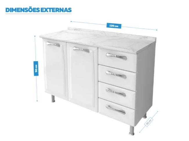 Balcão Itatiaia Premium 2 Portas e 4 Gavetas Cozinha Branco  - Casa Mattos