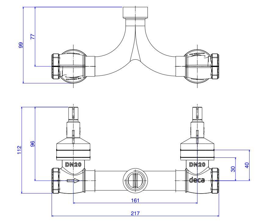 Base Misturador Deca para Chuveiro com Entrada Horizontal 4424.MI.034  - Casa Mattos