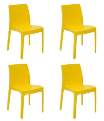 Cadeira Tramontina Alice Amarelo 92037/000 Conjunto C/4