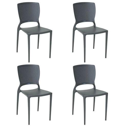 Cadeira Tramontina Safira Grafite 92048/007 Conjunto 4 peças