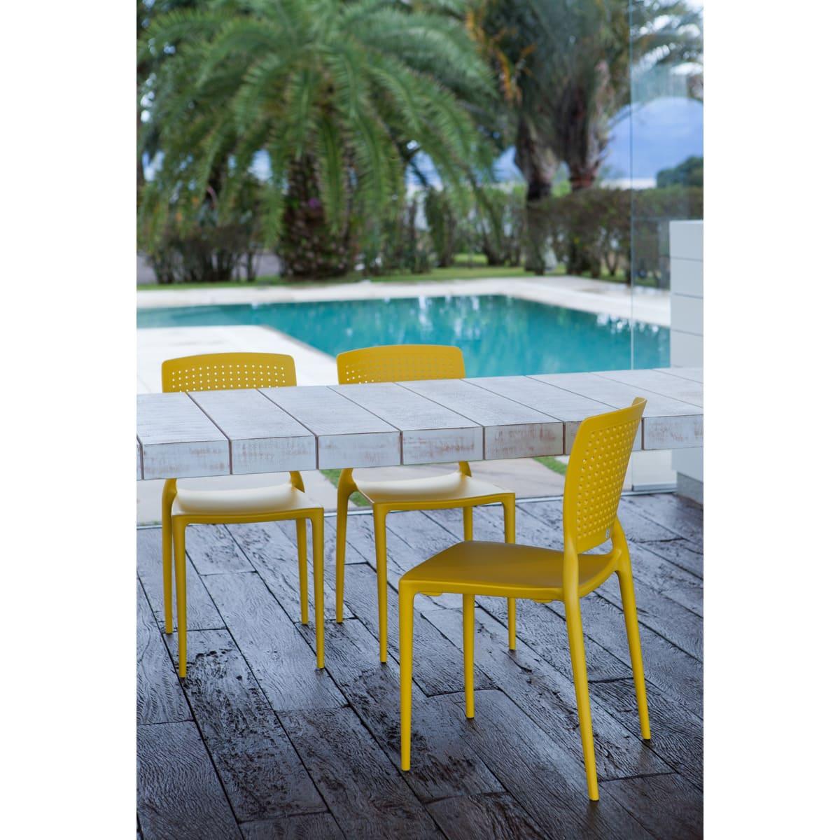Cadeira Tramontina Safira Summa Amarelo 92048/000 Conjunto 4 peças  - Casa Mattos