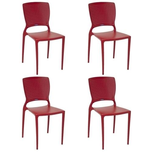 Cadeira Tramontina Safira Vermelho 92048/040 Conjunto C/4