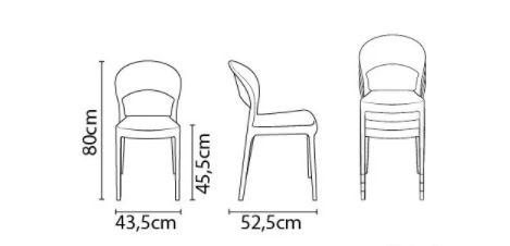 Cadeira Tramontina Sissi Encosto Fechado Preto 92046/409 Conjunto Com 4 unidades  - Casa Mattos