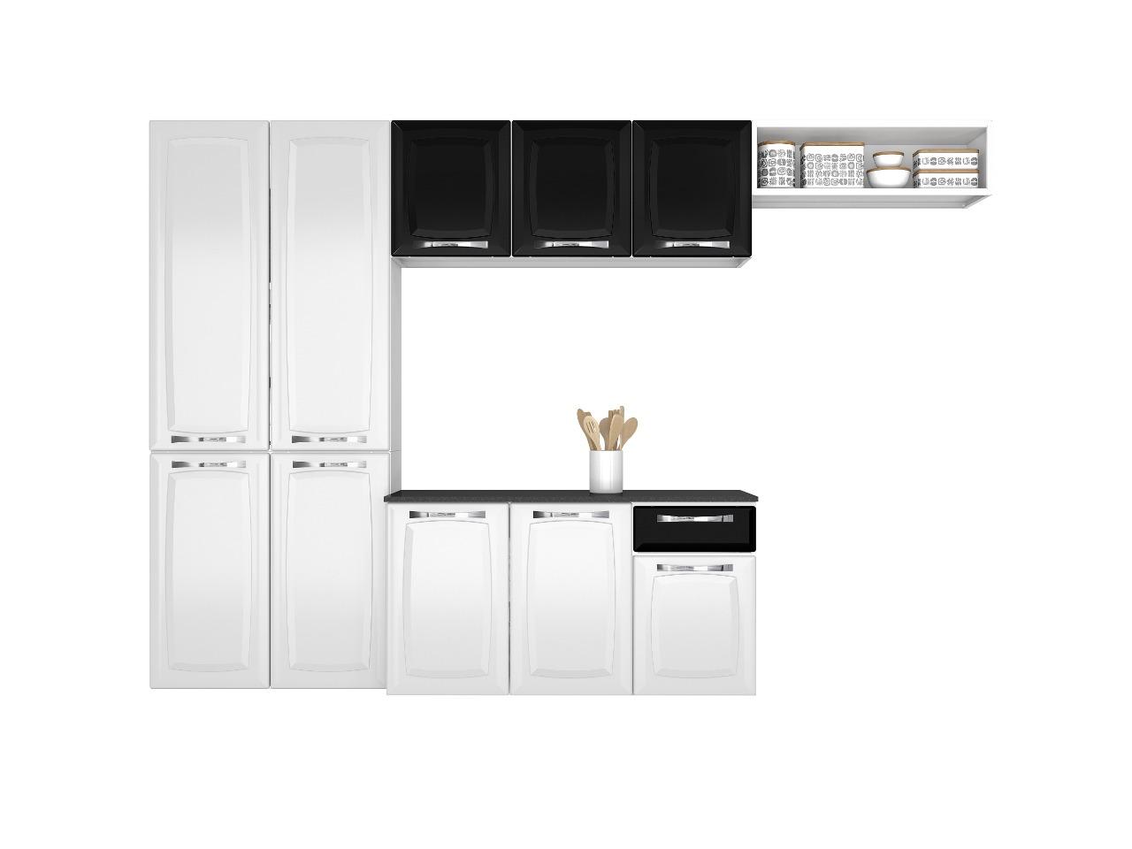 Cozinha Compacta Itatiaia Amanda 4 Peças Branco e Preto