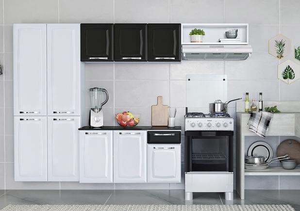 Cozinha Compacta Itatiaia Amanda 4 Peças Branco e Preto  - Casa Mattos