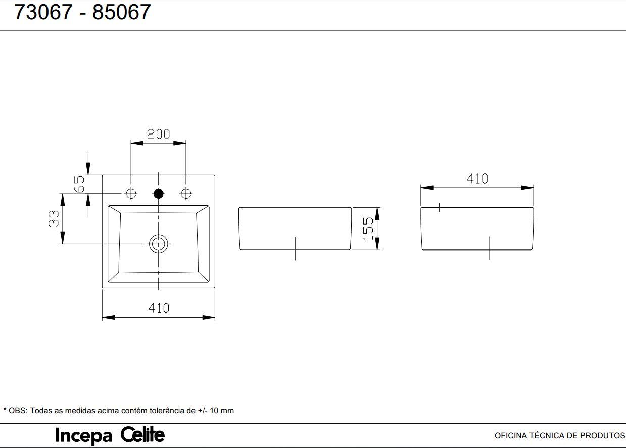 Cuba  de Apoio Incepa Loft Quadrada Q1 41x41cm Branca  - Casa Mattos