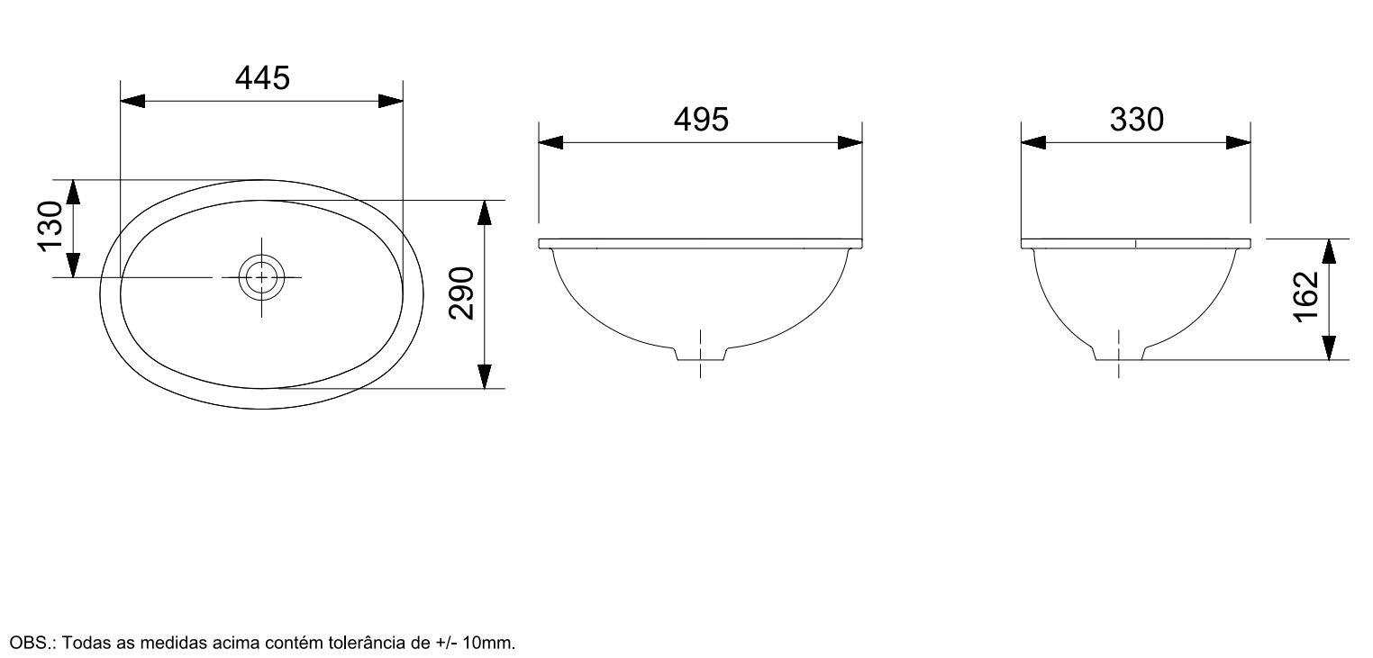 Cuba de Embutir Oval  49,5Cmx33Cm - Branco - Celite  - Casa Mattos