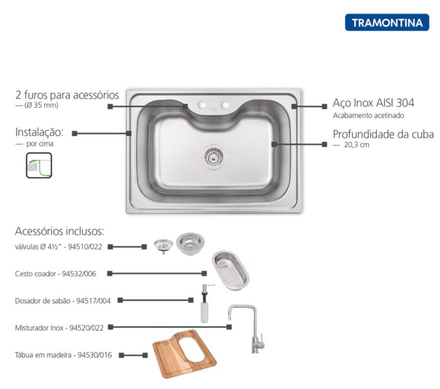 Cuba Tramontina Inox 69X49 Morgana com Misturador e Acessórios Acetinada  93806112  - Casa Mattos