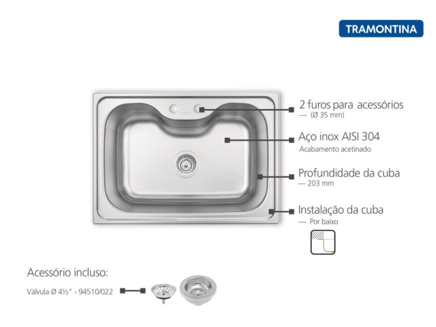 Cuba de Embutir Tramontina Morgana 93806/192 em Aço Inox com Válvula 69x49cm Acetinada  - Casa Mattos