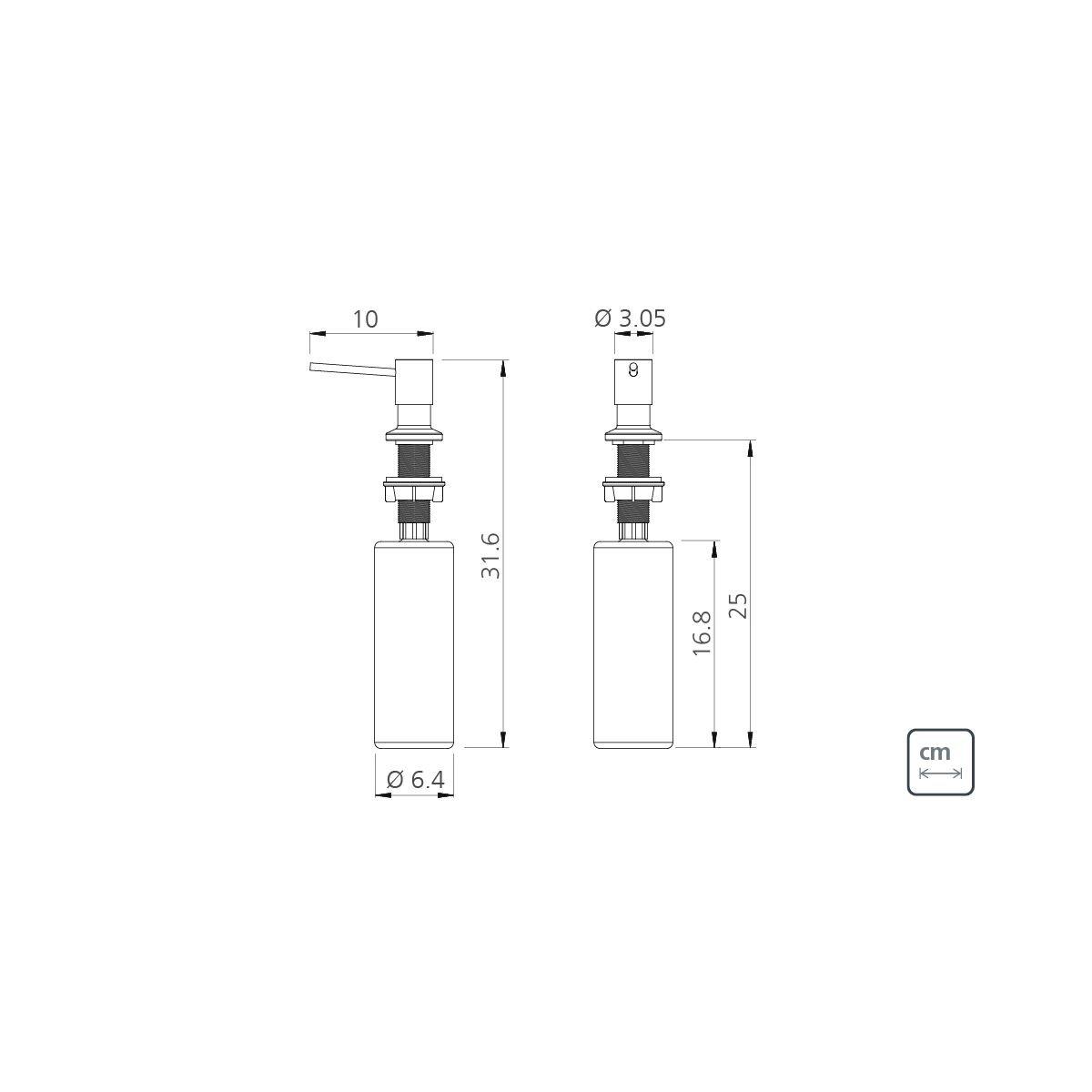 Dosador de Sabão Tramontina 94517/004 em Aço Inox com Recipiente Plástico 500 ml  - Casa Mattos