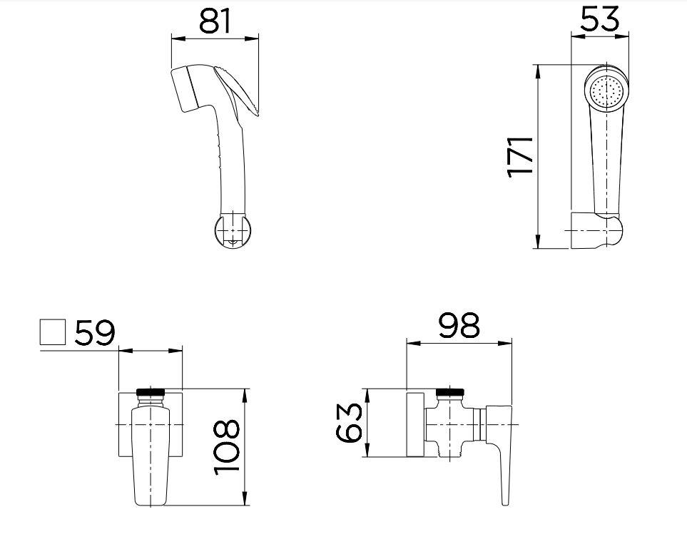 Ducha Higiênica Docol com Registro e Derivação Lift 00812206 Cromada  - Casa Mattos