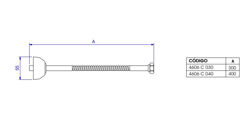 Engate Flexível Deca 40cm 4606.BL.040.MT Black Matte  - Casa Mattos