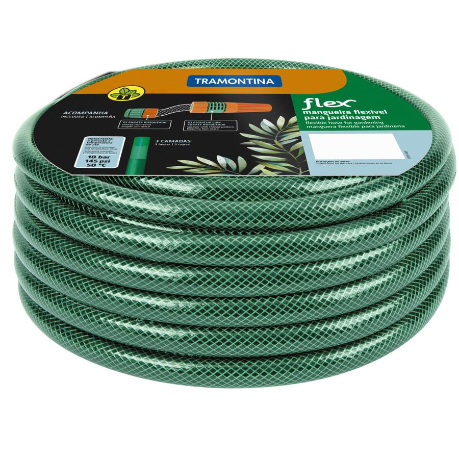 Mangueira Tramontina Flex 3 Camadas em PVC com Engate Rosqueado e Esguicho Verde  - Casa Mattos