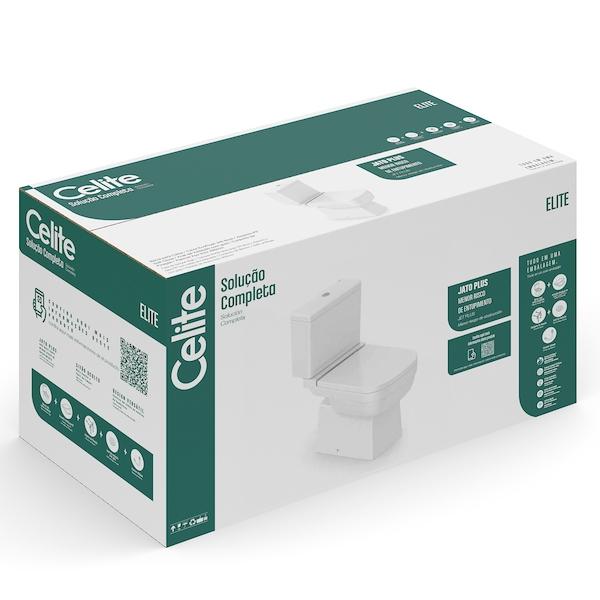 Kit Celite Bacia com caixa acoplada Elite Branco   - Casa Mattos