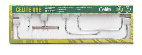 Kit de Acessórios Celite  5 peças One Cromado  - Casa Mattos