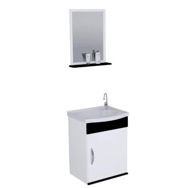 Kit Gabinete Suspenso para Banheiro Rorato Siena 39cm com 1 Porta e Espelho Preto  - Casa Mattos