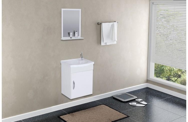 Kit Suspenso para Banheiro Rorato Siena 39cm com 1 Porta e Espelho Branco