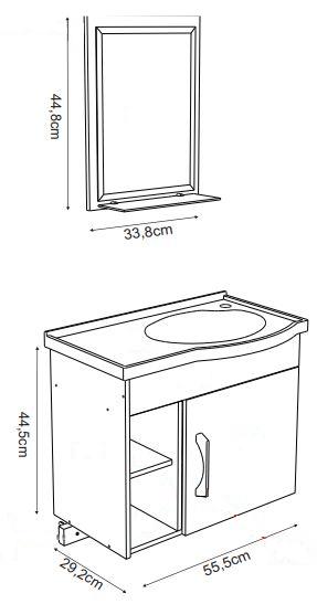 Kit Suspenso para Banheiro Rorato Turim 55,5cm com Pia, Espelho e 2 Nichos Norgal  - Casa Mattos