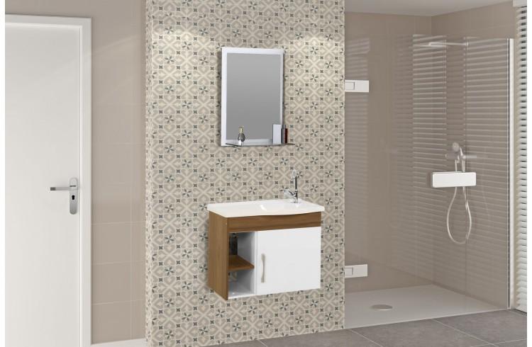 Kit Suspenso para Banheiro Rorato Turim 55,5cm com Pia, Espelho e 2 Nichos Norgal