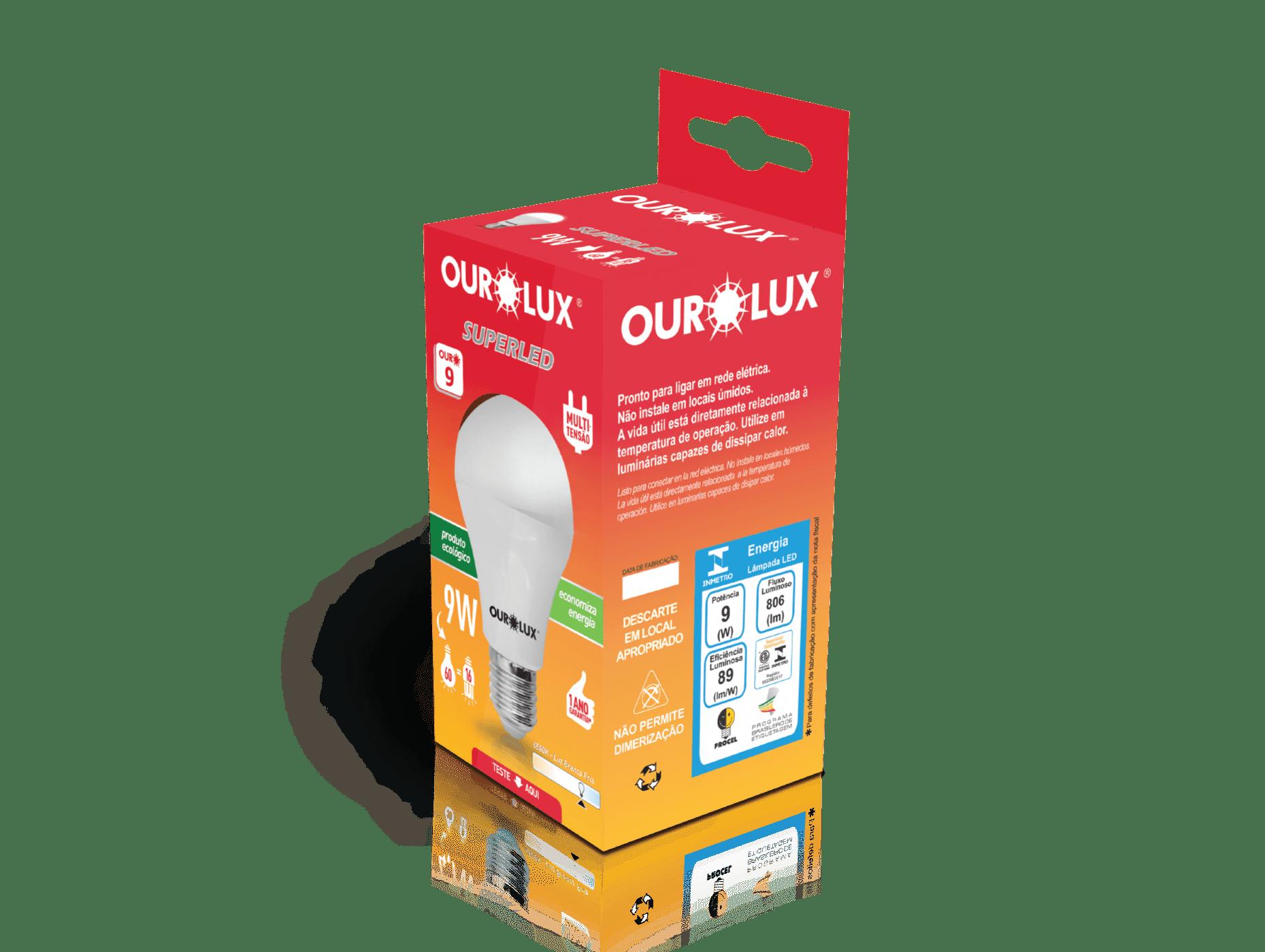 Lâmpada Ourolux Superled 9W Bivolt Branca  - Casa Mattos