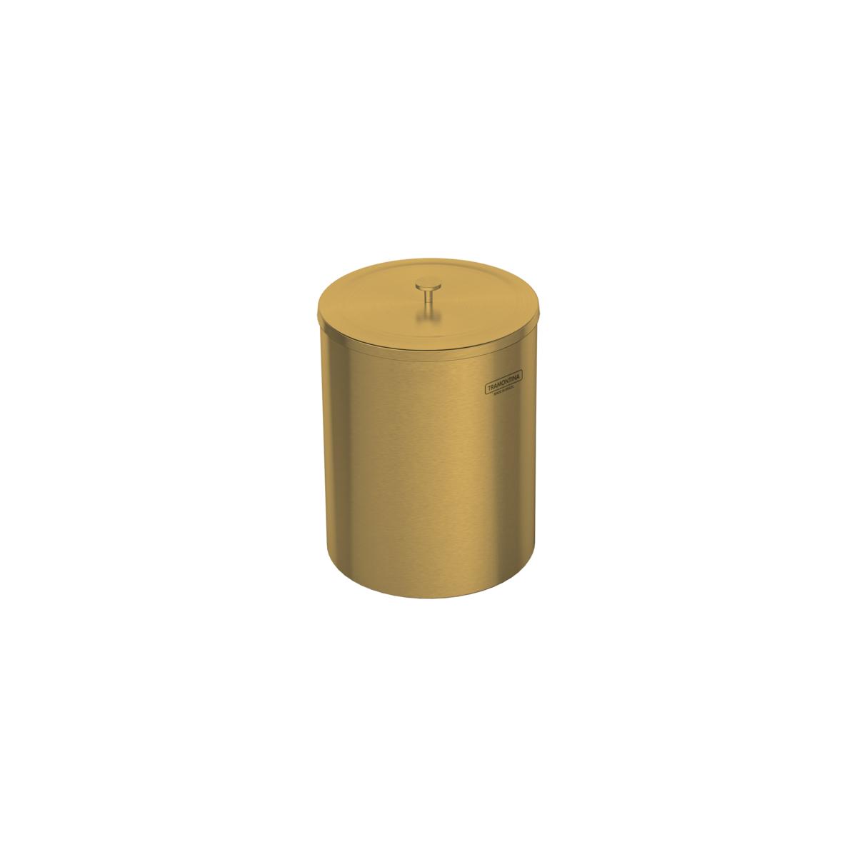 Lixeira Tramontina Útil 94540/051 em Aço Inox Scotch Brite com Revestimento a Base de Verniz Gold 5L