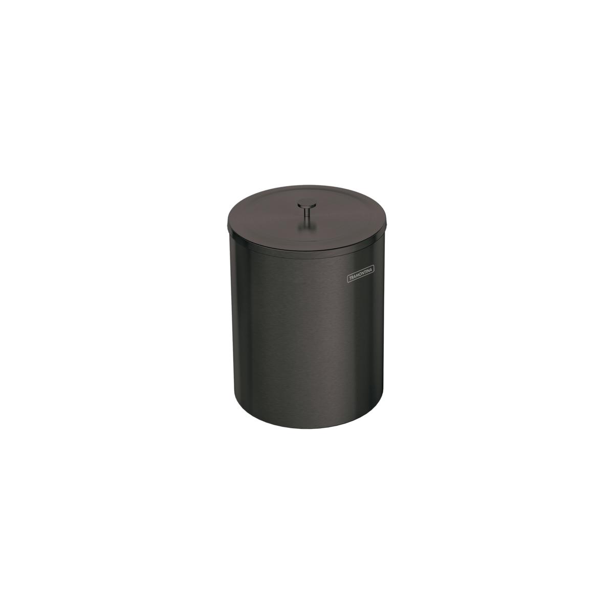 Lixeira Tramontina Útil 94540/052 em Aço Inox Scotch Brite com Revestimento a Base de Verniz Black 5L