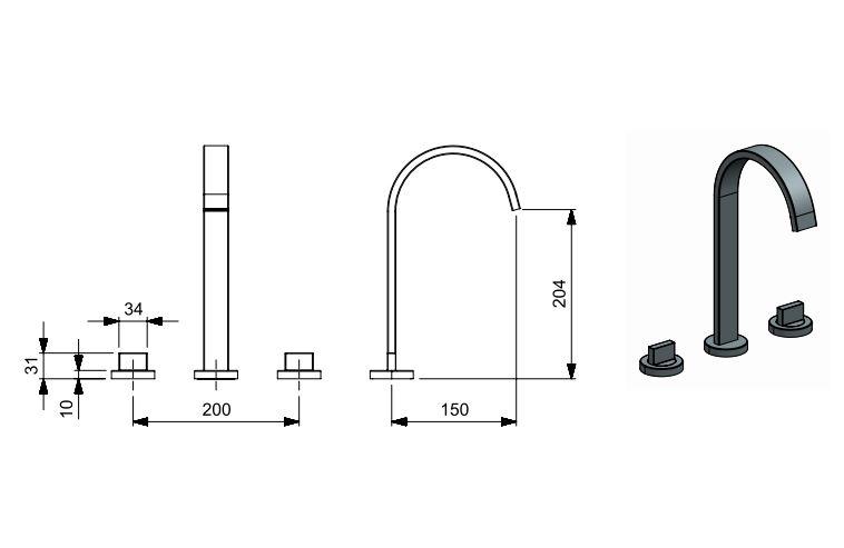 Misturador Celite Flow Bica Alta para Lavatório de Mesa com 3 Furos Cromado  - Casa Mattos