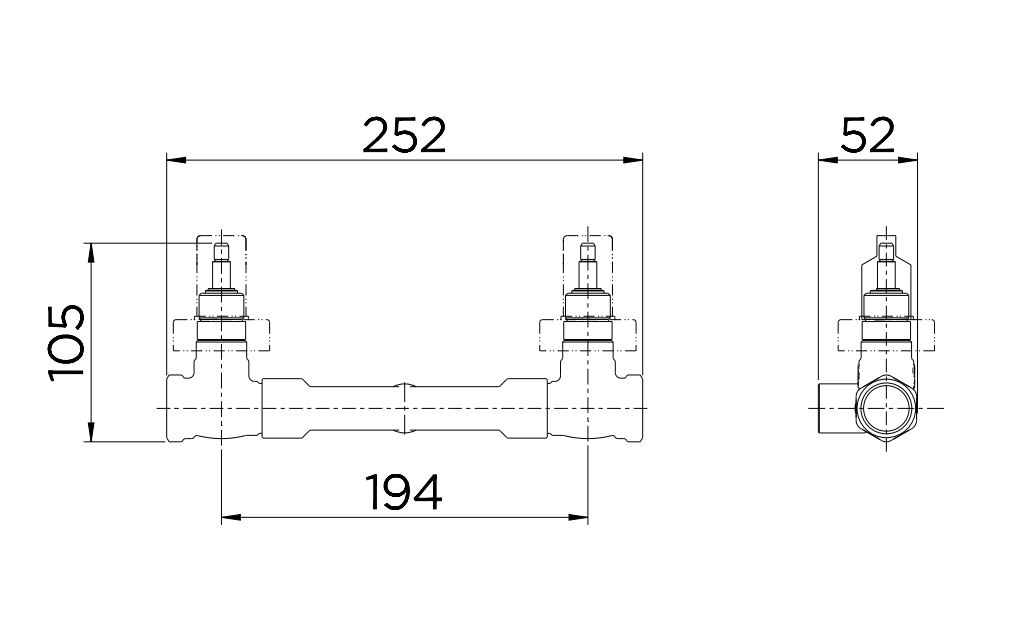 Base Misturador Docol para Banheira ou Chuveiro DocolBase  00169300 Latão  - Casa Mattos