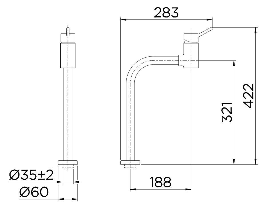 Misturador Monocomando Docol para Lavatório Lóggica ColdStart de Mesa 90° 00574706 Cromado  - Casa Mattos