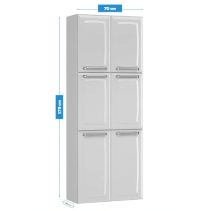 Paneleiro Itatiaia Luce 6 Portas Duplo Max para Cozinha Branco  - Casa Mattos
