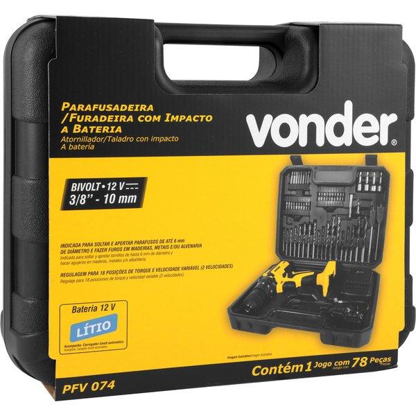 Parafusadeira/Furadeira com Impacto Vonder a Bateria de 12V Bivolt com Jogo de 74 Acessórios PFV 074  - Casa Mattos
