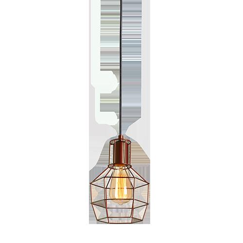 Pendente Avant Adhara 1 Lâmpada E27 Aço Cobre
