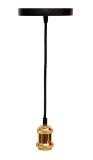 Pendente Avant Benjamin Cromado 1 Lâmpada E27 Dourado  - Casa Mattos