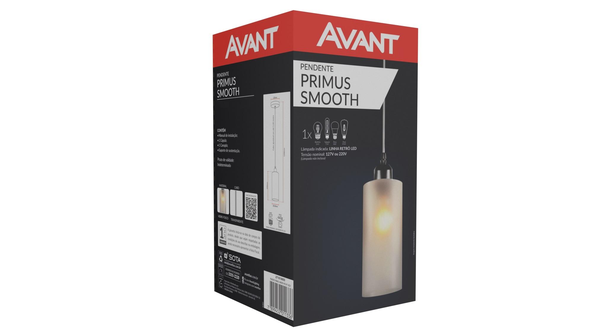 Pendente Avant Primus Smooth 1 Lâmpada E27 Vidro Fosco Liso  - Casa Mattos