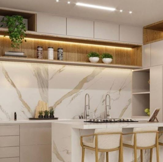Porcelanato Biancogres Calacata Oro Satin Acetinado Reficado 90x90cm  - Casa Mattos