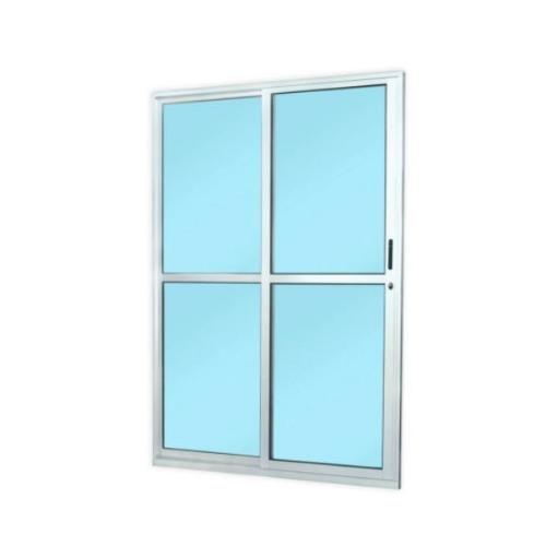 Porta de Correr Esquerda de Alumínio 2 Folhas MGM 210Cm x 160Cm - Branco   - Casa Mattos