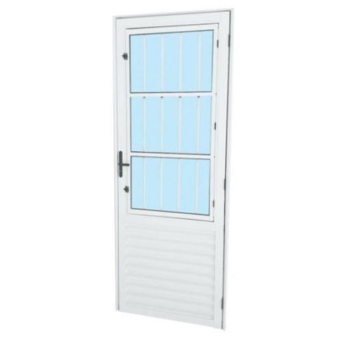 Porta de Postigo de Alumínio Direita Com Grade MGM 210Cm x 80Cm - Branco  - Casa Mattos