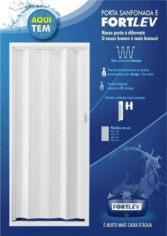 Porta Sanfonada PVC Fortlev 210x60cm Branca  - Casa Mattos