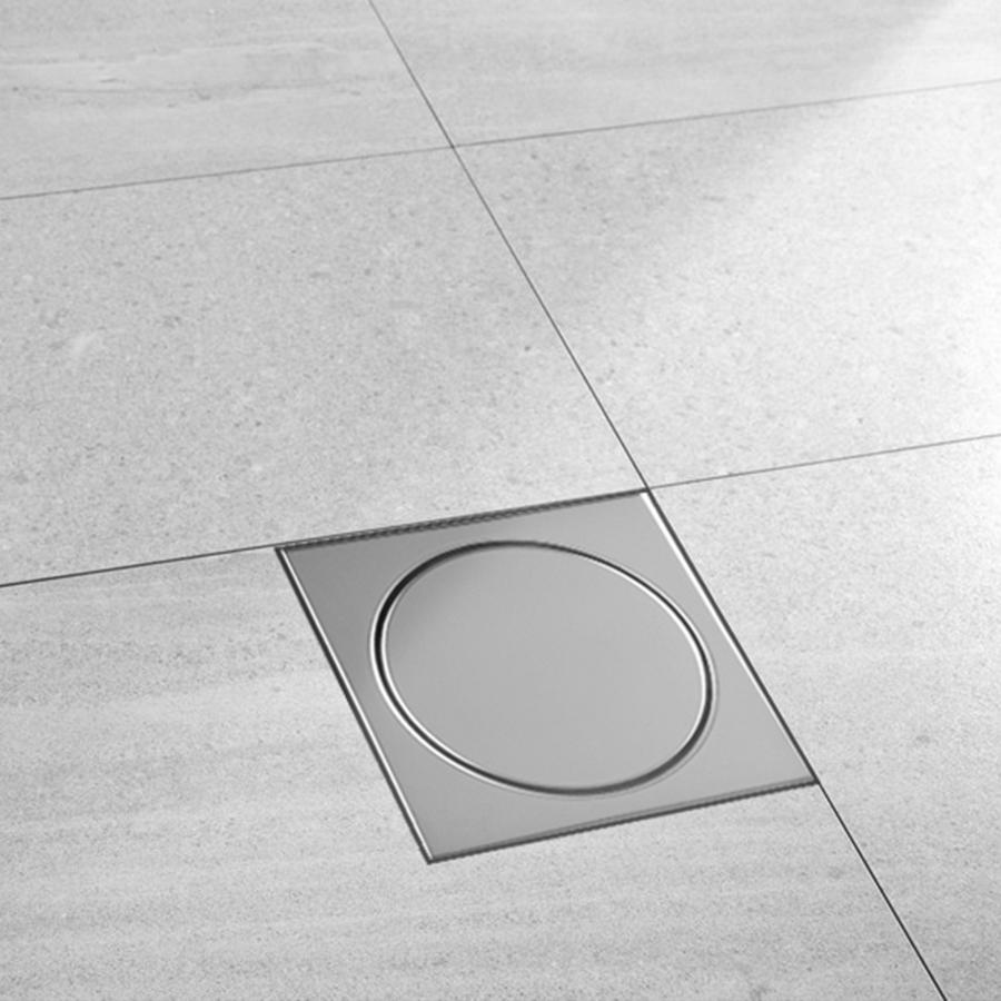 Ralo Mozaik com Sifão Polido RAPP1010 Inox 10x10cm  - Casa Mattos