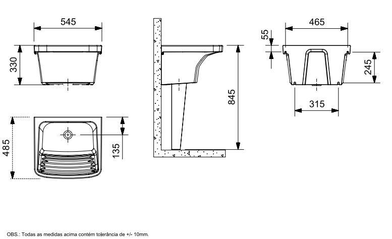 Tanque Celite  M 54,5x48,5 cm Branco  - Casa Mattos