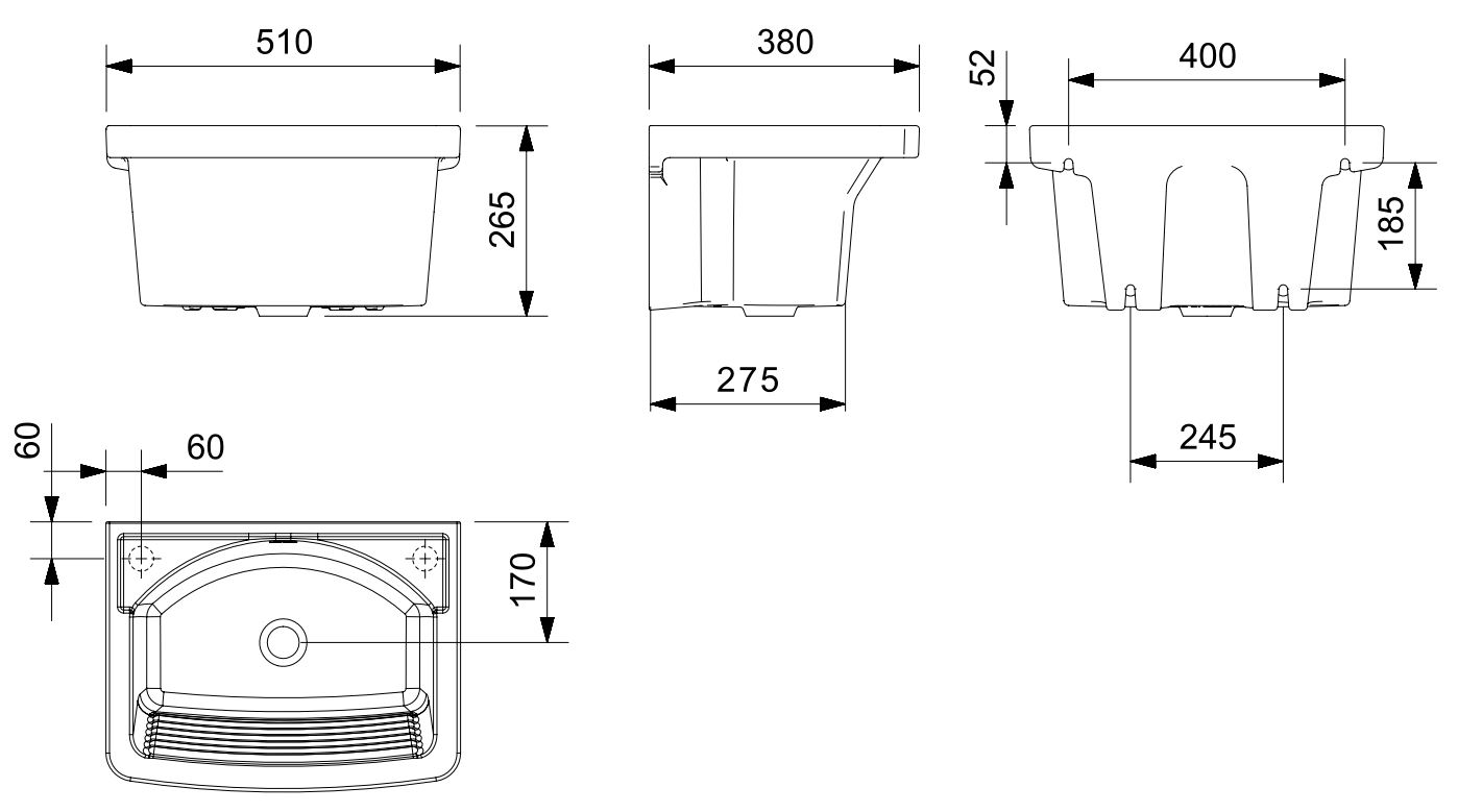 Tanque Celite P Suspenso Branco 53x38cm  - Casa Mattos
