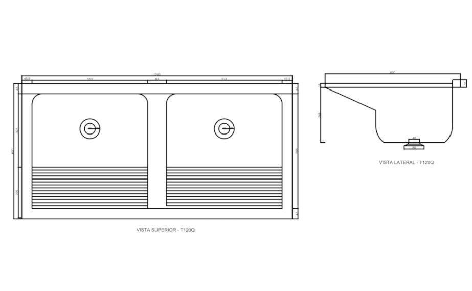 Tanque Duplo Decoralita T120Q de Mármore Sintético 120x60cm Branco  - Casa Mattos