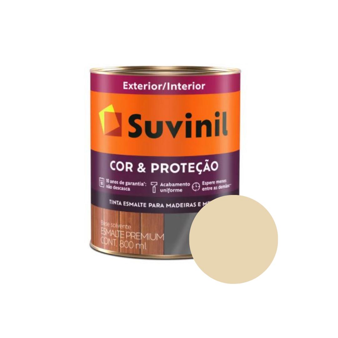 Tinta Esmalte Suvinil Cor & Proteção Brilhante 800ml Cor Marfim Nobre  - Casa Mattos