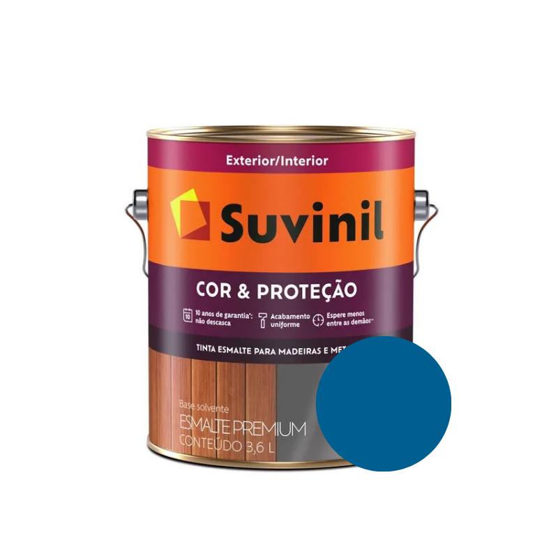 Tinta Esmalte Suvinil Cor & Proteção Brilhante Azul França Galão 3,6L  - Casa Mattos
