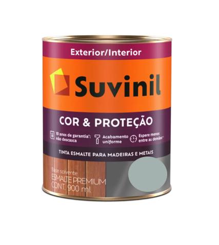 Tinta Esmalte Suvinil Cor & Proteção Brilhante Cinza Médio Litro 900ml