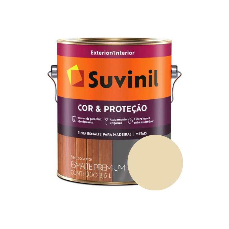 Tinta Esmalte Suvinil Cor & Proteção Brilhante Marfim Nobre Galão 3,6L