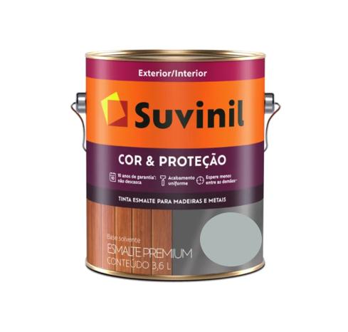 Tinta Esmalte Suvinil Cor & Proteção Brilhante Platina Galão 3,6L