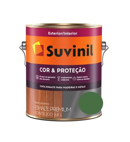 Tinta Esmalte Suvinil Cor & Proteção Brilhante Verde Folha Galão 3,6L  - Casa Mattos